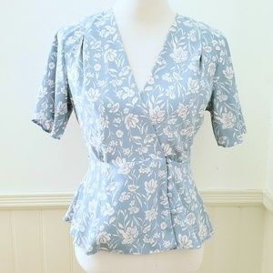Light Blue and White Floral Wrap Blouse Primark